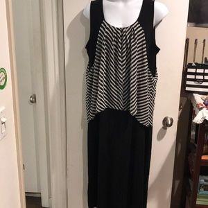 Long black n stripes dress